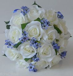Cute! blue fake bouquet roses | 1x Silk Wedding Bouquet Bridesmaid Posy White Rose Blue Gyp Flowers ...
