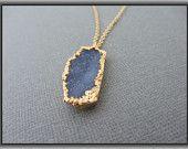 Druzy - Druzy necklace - gold necklace - Periwinkle 24k Gold Druzy Pendant Necklace