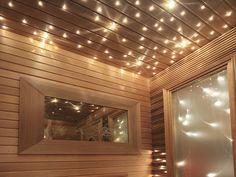 Stjärnhimmel i bastu. Make a wish on a star. Saunalight Make, Light In, Saunas, Tiny Homes, Blinds, Garage Doors, Relax, House Design, Outdoor Decor