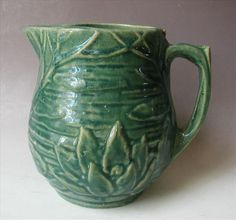 McCoy Water Lily Pitcher Small Blue Green Vintage