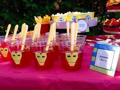 Lego Iron Man birthday party Jello treats kids good