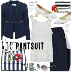 A fashion look from May 2016 featuring Zizzi blazers, Lands' End capris y Dolce&Gabbana tote bags. Browse and shop related looks.