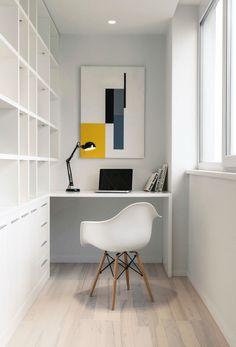 White Loft|Kashuk Constantine - home office nook, desk, eames chair Small Workspace, Workspace Design, Home Office Design, Home Office Decor, Office Furniture, House Design, Home Decor, Office Ideas, Office Workspace