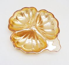 Carnival Glass Shamrock Bowl Peach Iridescent by Florinandsixpence