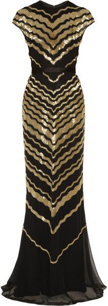 Jason Wu Gold Beaded Silk-chiffon Gown