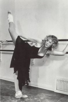 Stevie Nicks doing ballet (clearly after a little work in the chest area) getting ready for tusk tour 78