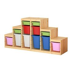 Fantastic storage which gives the children free choice to toys and equipment...  TROFAST storage combination with boxes, multicolour, pine Width: 186 cm Depth: 44 cm Height: 91 cm