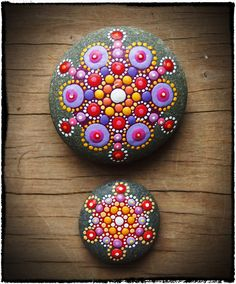 Jewel Drop Mandala Stones- Sunset duo
