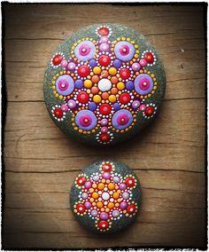 Jewel Drop Mandala Stones- Sunset duo