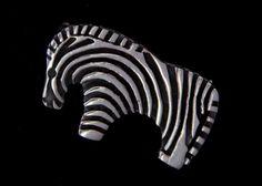 Primitive Zebra Sterling Silver Brooch by MayberryGraphics on Etsy