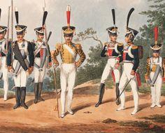 Fucolieri, tamburo maggiore, ufficiali e tamburo del rgt. d'Ismailofsky delle guardie del corpo russe