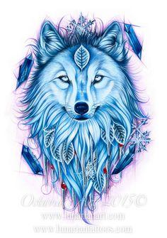 Winter Wolf  Wolf Art  Wolf Symbolism  Giclée by OctaviaTattoo
