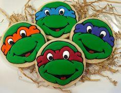 Ninja Turtle sugar cookies by What The Cookie! Confections. TMNT; teenage mutant ninja turtle; birthday cookies