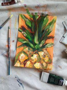 Inspire - pineapple painting by rachel christopoulos Pineapple Painting, Pineapple Art, Pineapple Drawing, Simple Oil Painting, Fruit Painting, Painting Trees, Painting Art, Small Canvas Art, Mini Canvas Art