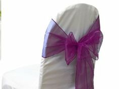 "10 pcs 7.5"" wide x 108"" long Organza CHAIR SASHES Bows Ties - Purple"