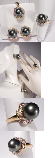 Pearl 164327: Tahitian Black Pearl Set(Ring,Earrings,Pendant), Diamonds, Solid 14K Yellow Gold -> BUY IT NOW ONLY: $1666 on eBay!