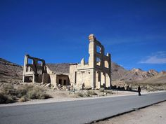 Rhyolite, Nevada. Very cool town to walk through. This is Cook Bank.