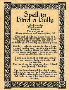 Spell to Bind a Bully, BOS Page, Book of Shadows Pages, Real Magick Spells