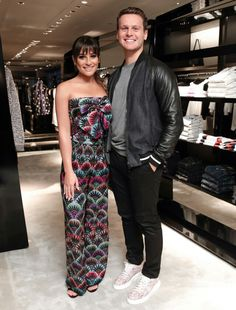 Jonathan Groff with Lea Michele at NYC Armani to promote Lea's new album Places. Jonathon Groff, Lea Michele Glee, Lgbt History, Strapless Dress Formal, Formal Dresses, Cory Monteith, Sarah Michelle Gellar, Celebrity Moms, Amanda Seyfried