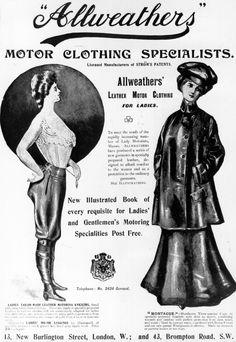 Heavy coats and goggles made up early motorist fashion (Retronaut)