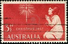 Picture of AUSTRALIA - CIRCA A Christmas stamp printed in Australia showing an image of a girl praying to a star, circa 1957 stock photo, images and stock photography. Aussie Christmas, Australian Christmas, Christmas Bells, Vintage Christmas, Christmas Time, Christmas In Australia, Commemorative Stamps, Old Stamps, Stamp Printing