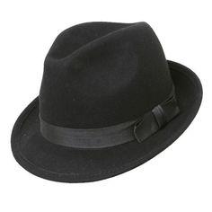 QUALITY UNISEX FELT TRILBY / FEDORA HAT 5CM BRIM BLACK 100% WOOL