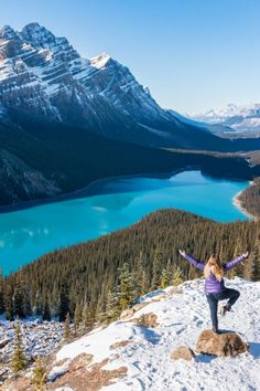 Peyto Lake - As if a 10-minute hike through a snowy wonderland was not fun enough, when you reach an elevation of 6,102 feet you are rewarded at Bow Summit with the perfect view overlooking Peyto Lake, Canada. More tips on the blog!