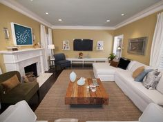 Rectangle living room. Casual, neutral family room. Our layout. Liz Stewart : Designer Portfolio