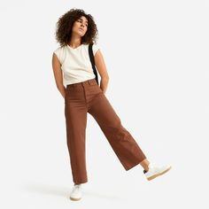 Women's Lightweight Wide Leg Crop Chino by Everlane in Chocolate