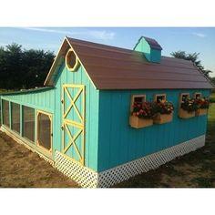 Super cute blue barn chicken coop!