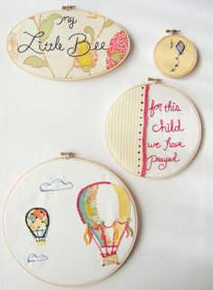 Custom Nursery Art Embroidery Hoop Set Wall Art Upcycled Fabric Design your Own One of a Kind as featured on Kid Style File Etsy. Baby Embroidery, Learn Embroidery, Embroidery Hoop Art, Cross Stitch Embroidery, Embroidery Patterns, Vintage Circus Nursery, Nursery Art, Girl Nursery, Nursery Ideas
