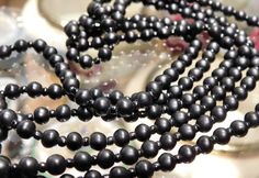 """Art Deco Matte Black Onyx Beads Beaded Necklace Mourning Jewelry 1920s 20s Antique Flapper Necklace Jasper Stone 54"""" Rope Length Hand Strung"""