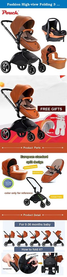 Fashion High-view Folding 3 in 1 Baby Stroller (standard stroller+carrycot+ safety car seat) white& yellow two colors available (brown). 1) High grade PU-leather make the stroller looks luxury and elegant, easy to clean. 2) With five-point safety belt,with large storage basket. 3) All the wheels is made of natural rubber, with excellent shock, non-pneumatic. 4) The height of handlebar and backrest can be adjusted as your need. 5) Both for sleeping and sitting,easy to fold and change to a...