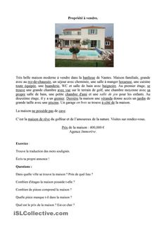 FLE logement à vendre/à louer French Teacher, Teaching French, Reading Lessons, Teaching Reading, Learning, Mandarin Lessons, High School French, French Worksheets, French Grammar