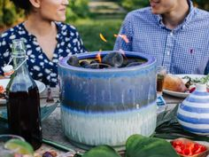 Give your party a little ambiance (fast!) by transforming a ceramic pot into a tabletop fire pit. Give your party a little ambiance (fast!) by transforming a ceramic pot into a tabletop fire pit. Fire Pit Party, Diy Fire Pit, Fire Pit Backyard, Tabletop Fire Bowl, Gazebo, Pergola Patio, Pergola Curtains, Tabletop Fireplaces, Outside Fire Pits