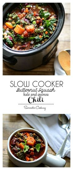 Meatless Monday: Slow Cooker Butternut Squash, Kale, and Quinoa Chili | Sarcastic Cooking @sarcasticcook