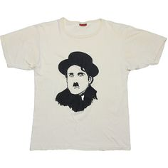 Charlie Chaplin Shirt Vintage tshirt 1975 Sir Charles Spencer KBE... (£75) ❤ liked on Polyvore featuring tops, comic book, cotton shirts, white top, white cotton tops and vintage cotton shirts
