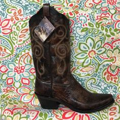 Old West Boots Beautiful Brown boot wit tan stitching. Old West Shoes Heeled Boots