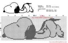 Snoopy Peanuts dort grille point de croix gratuit
