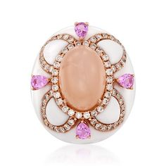 White Agate Floral Dome Ring With Diamonds and Pink Sapphires in 18kt Rose Gold