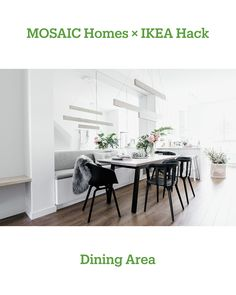 Our design started with BESTA shelf units that create the base for a dining area banquette. We built an open wood cubby to fill the leftover space between standard BESTA units and our walls. DIY cushions complete the banquette and wall to wall mirrors were installed above — a visual trick to enlarge any space. The banquette is complimented by a GREBBESTAND underframe table base hacked with an Ash wood table top.