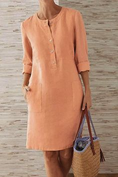 Pockets Front Long Sleeves Linen Mini Dress for a casual look fits daily life Long Sleeve Midi Dress, Maxi Dress With Sleeves, Sleeved Dress, Dress Tops, Hot Dress, Dress Pockets, Peplum Tops, Plus Size Fashion For Women, Mode Outfits