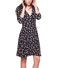 Loving this Black & Pink Floral Surplice Dress on #zulily! #zulilyfinds