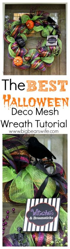 How to make a Halloween Deco Mesh Wreath Tutorial | Big Bears Wife | www.bigbearswife.com
