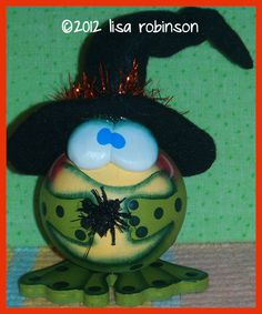 Hand Painted Halloween Frog Witch Gourd fly bug toad by primchick, $24.99