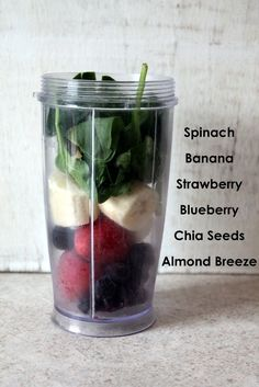 Wild Blueberry Banana Spinach Power Smoothie - blueberries, strawberries or raspberries, banana, almond milk, spinach, chia