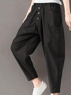 Only US$25.89 , shop Casual Solid Big Pockets Elastic Waist Women Harem Pants at Banggood.com. Buy fashion Trousers Pants online.