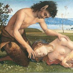 Piero di Cosimo (1462-1522) - Satiro che piange la morte di una ninfa (dett)  - 1495-1500 circa - Tavola - Londra, National Gallery