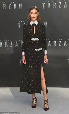 Show of support: Alexa Chung was showing her support for boyfriend Alexander Skarsgard as ...