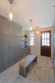 Mudroom laundry room Beautiful Laundry Room Tile Pattern Design Ideas - lmolnar Outdoor Trash Ca Mudroom Laundry Room, Laundry Room Design, Laundry Area, Laundry Room Floors, Mudroom Cabinets, Mud Room Lockers, Kitchen Cabinets, Small Laundry, Diy Cabinets